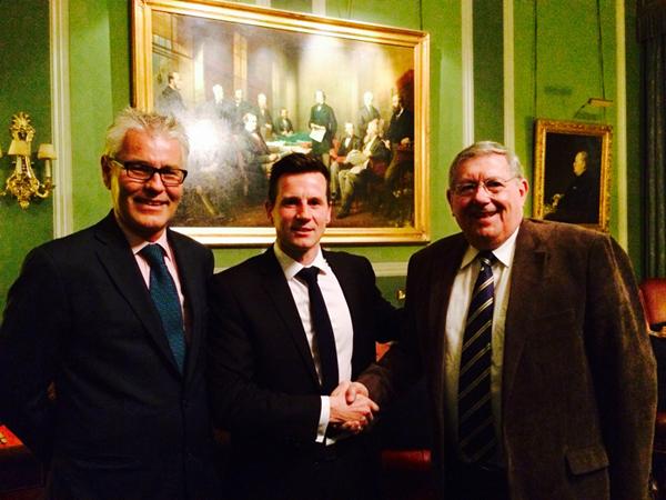 Matt Franks with Gordon Glenister and Brian Binley MP