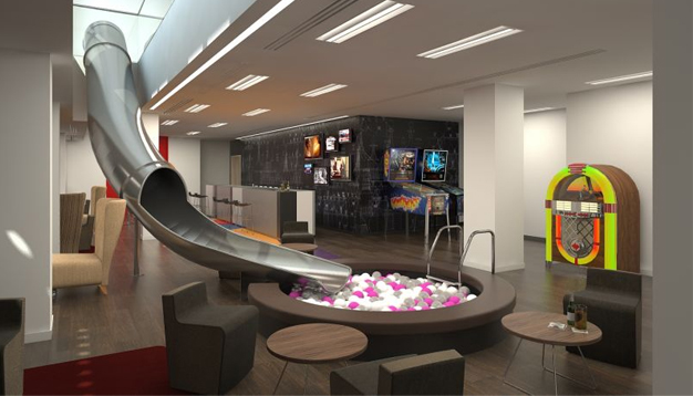 Ticketmaster's Office, featuring a slide leading to a ball pool