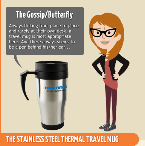 The Gossip or Butterfly - Stainless Steel Thermal Travel Mug