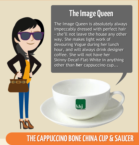 The Image Queen - Cappuccino Bone China Cup & Saucer