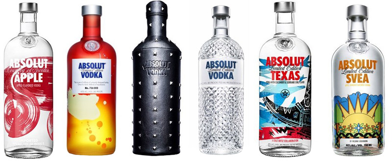 Absolut Vodka bottle designs