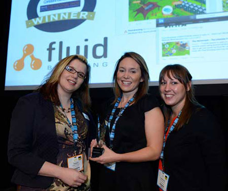 Fluid Branding's Gemma Richards and Cat Murdoch accept the Best Integrated Digital Marketing Award