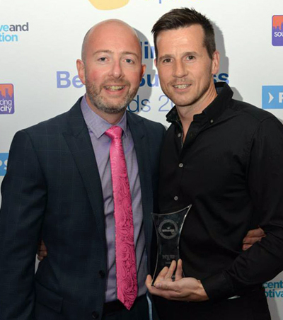 Fluid Branding Director Matt Franks accepts the Website of the Year Award 2014 from Sourcing City CEO Alistair Mylchreest