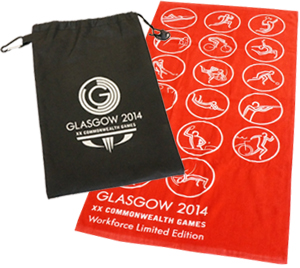 Pictogram Design Sports Towel and Printed Non-Woven Bags for Glasgow's Commonwealth Games 2014