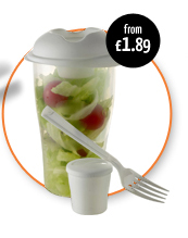 Salad Container with Cup & Fork - from £1.89